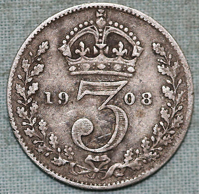 Great Britain 3 pence threepence 1908 Edward VII silver ~Combined S.& H.