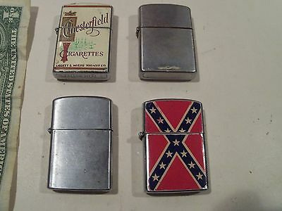Lot Of 4 Vintage Lighters,chesterfield Cigarettes Tobacco