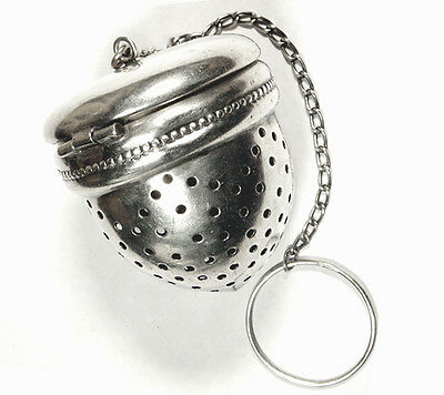 Vintage Sterling Silver Tea Infuser Strainer - Acorn shape - with chain