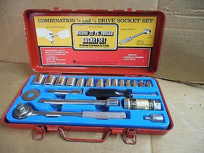 VINTAGE Oxwall Tools 1/4 and 3/8 drive  combination socket set.   22 piece metal