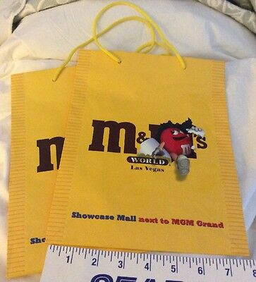 """2 M&M's World collectibles Las Vegas Gift Bag Yellow 8"""" x 10"""" NEW"""