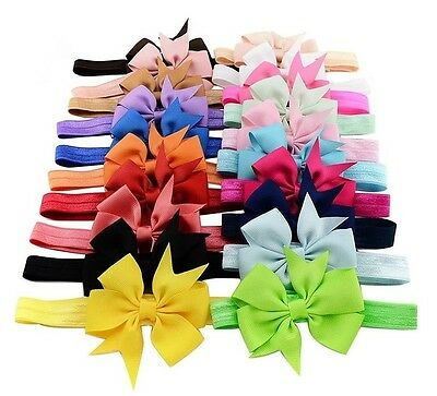 20Pcs Baby Girls Toddler Kids Cute Headband Hair Bow Band Headwear Accessories K