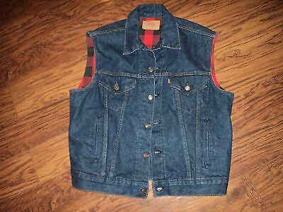 Nice Mens Large  Levi's Blanket Lined Denim Jacket Vest Style #60518-0816