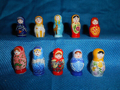 RUSSIAN NESTING DOLLS Set 10 Tiny Figurines FRENCH Porcelain FEVES Mini Figures