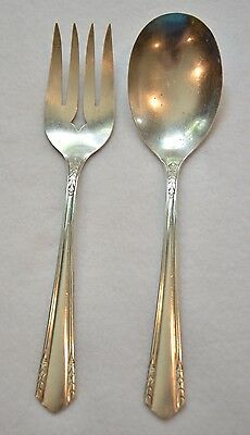 Wm A Rogers A1 Plus Oneida Malibu Silver Plate Serving Spoon Serving Fork 1934