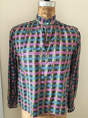 Vintage 1960s Yves Saint Laurent Silk Check Blouse Top 38 Mod Pop 60s