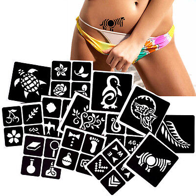 Small Henna Tattoo Stencils Rose Flower Leaf Pattern Waist Leg Art Body Painting