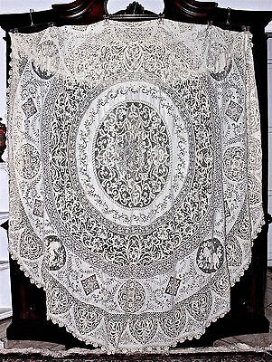 """19C Milanese Cantu Bobbin Lace Figural&Filet Lace Inserts Round Tablecloth 104""""D"""