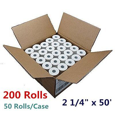 "200 Rolls 2 1/4"" x 50' Cash Register Credit Card Terminal Receipt Thermal Paper"