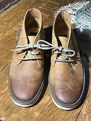 J and M men's 8.5 brown leather casual shoes--ties