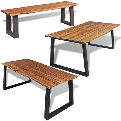 Solid Acacia Wood Dining Table/Bench Metal Legs Kitchen Furniture 4 Models