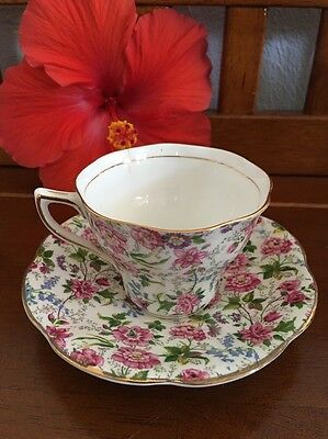 (a) Rosina England Bone China Cup & saucer floral Rose Bluebell gold gilt