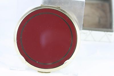 Vtg Stratton Enamel Compact Unused Gold Tone with Red Enamel Original Box