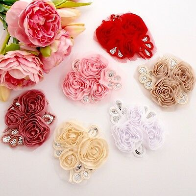 1 Chiffon sequin flower applique - for millinery , hair and crafts