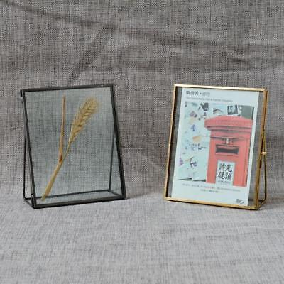 Vintage Double Sided Glass Black Metal Photo Picture Frame Freestanding