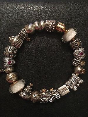 authentic  charm bracelet by pandora size 20 gold snake 2 tone charms