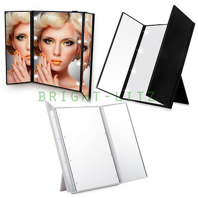 Free Standing Lady Beauty Cosmetic Vanity Makeup Mirror Tri-Fold 8LED Light-up