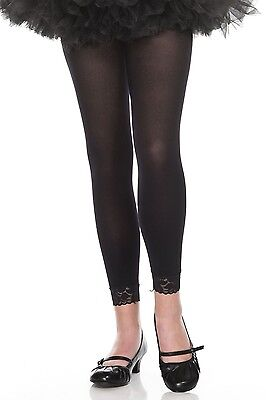 nwt MUSIC LEGS girls CHILDRENS kids LEGGINGS opaque FOOTLESS nylon LACE trimmed