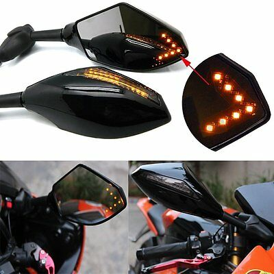 New 2Pcs Black Motorcycle Rearview Side Mirrors With LED Turn Signals Indicator