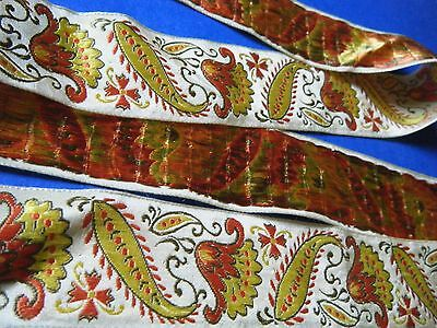 OLD  VTG TRIM RIBBON JACQUARD FRENCH WITH exzotic FLOIWERS.muillinary