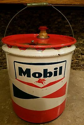 Vintage 5 Gallon Handled Mobil Metal Oil Can
