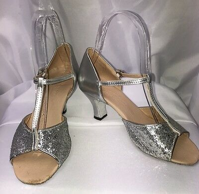 Ballroom Latin Dance Sandal Open Toe Silver Glitter Shoes Sz 37 Asian, US SZ 6