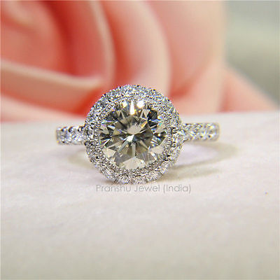 1.50 CT Off White Yellow Real Moissanite Engagement Ring 925 Sterling Silver