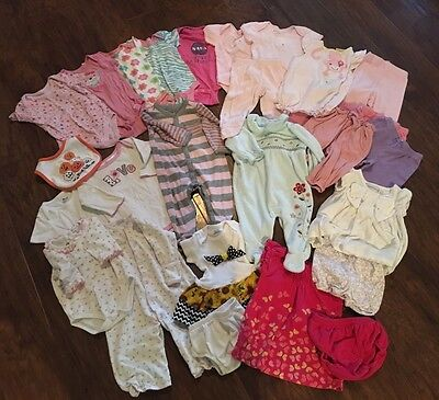 Lot Of 28 Pieces- Size 3-6 Months girl Infant clothes-Baby Gap, Kissy Kissy, Tea