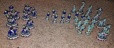 INDIAN JAIPUR ENAMEL & SILVER ELEPHANT CHESS PIECES 32 piece see pics Rare set