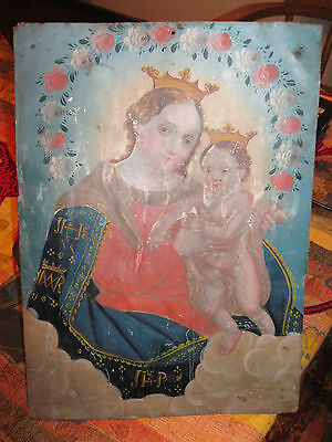 Oriinal Antique Retablo On Tin With  Image  Of Our Lady  Of Refuge 10'' By 14'''
