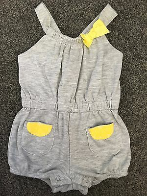 Size 000 (0-3M) ~ BABY BERRY ~ Sleeveless Grey 'Lemon' Romper Outfit ~ EUC!