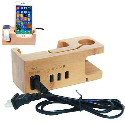 Bamboo 3 USB Charging Dock Station Charger Holder Stand for Apple Watch iPhone