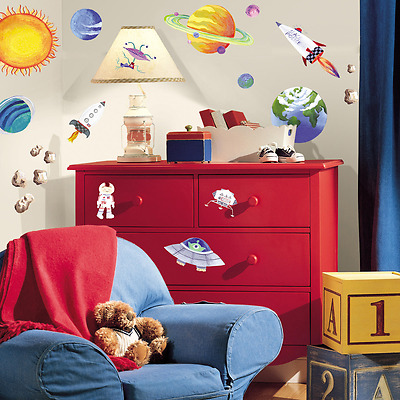 Peel and Stick Wall Decals Outer Space Design Removable Indoor Home Decor
