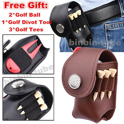 Mini PU Leather Clip On Golf Ball Holder Pouch Bag w/ Golf Ball Tees Divot Tools