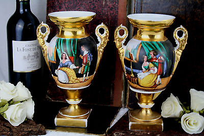 gorgeous PAIR french hand painted porcelain victorian galant scenes 19th century