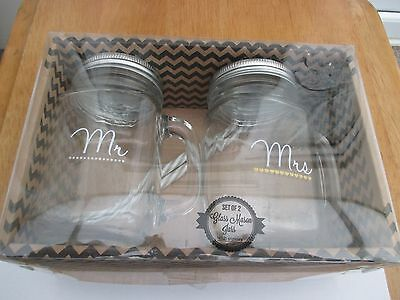 Mr & Mrs glass mason jars with straws new boxed ideal gift