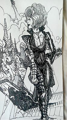 Original Drawing: NOT A COPY, OR PRINT. Pen Figure. From Artist's Sketchpad.