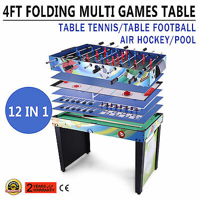 4ft 12 in 1 Multi Games Football Pool Air Hockey Ping Pong Bowling Table