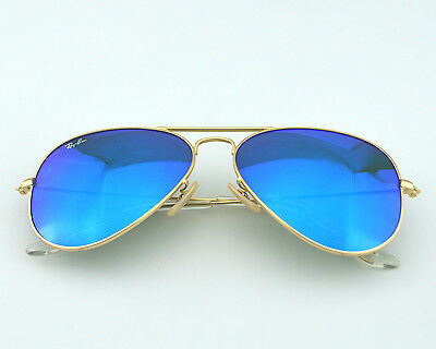 Ray Ban RB 3025 Aviator Flash Lenses112/17 Gold frame /Blue Flash Glass Lens Uni