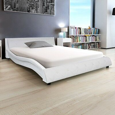 vidaXL Bed Frame Artificial Leather 4FT6 Double/135x190 cm White Bedroom Wave