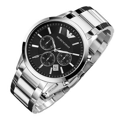 100% New Emporio Armani AR2434 Stainless Steel Chronograph Mens Black Dial Watch