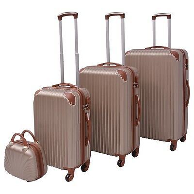 vidaXL Four Piece Hardcase Trolley Set Suitcase Luggage Travel Bag Champagne