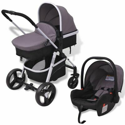 vidaXL 3-in-1 Pushchair Aluminium Grey and Black Stroller Buggy Baby Child Kid