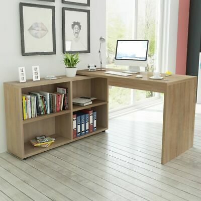 Corner Desk 4 Shelves Computer Office Home Study Table Workstation Furniture