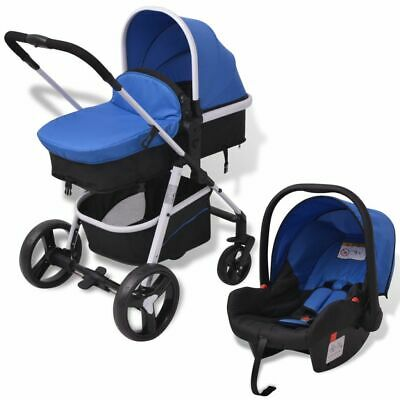 vidaXL 3-in-1 Pushchair Aluminium Blue and Black Stroller Buggy Baby Child Kid