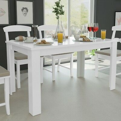 Dining Table 140x80x75 cm White Indoor Outdoor Kitchen Room Furniture Home Decor