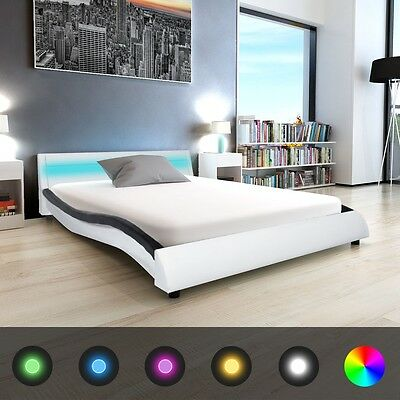 vidaXL Bed Frame with LED 5FT King Size/150x200 cm Artificial Leather Bedroom