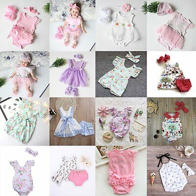 Newborn Baby Girl Outfit Clothes 3PCS Romper +Headband/Hat +Shoes Clothes Set