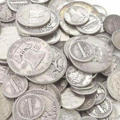 $1 Face Value - 90% Silver U.S. Coins -Mercury Dimes,Washington Quarters, Halves