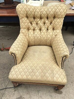 Edwardian Gold Button Back Armchair